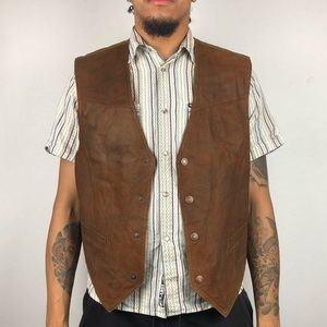 🤠🤠 Vintage 70's Leather Vest and Shirt Bundle